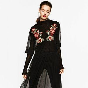 Zara Tulle Embroidered Black Dress